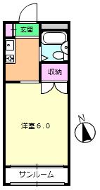 尾山台QSハイム 202号室の間取り