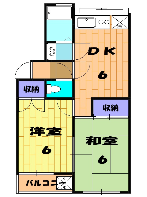 サンライフ岡田1 1-201号室の間取り