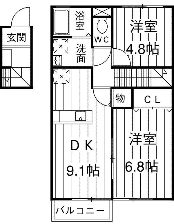 ビアンキ花崎A・B棟 A-201号室の間取り