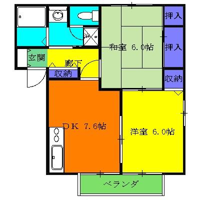 シーズ桜 A201号室の間取り