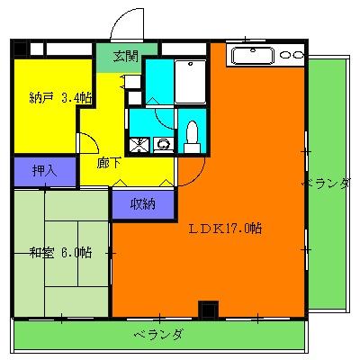 石田マンション 201号室の間取り