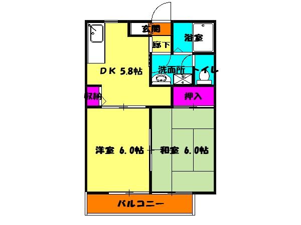 コーポ増田B棟 102号室の間取り