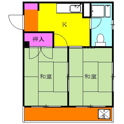 桜山ハイツ 202号室の間取り