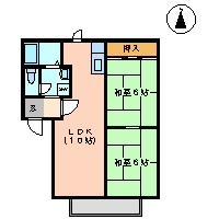 コーポ奈良 102号室の間取り