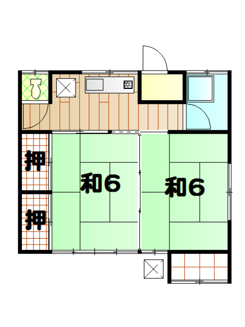 上原アパート 6号室の間取り