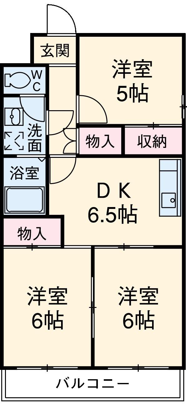 菊川サンハイツ 403号室の間取り