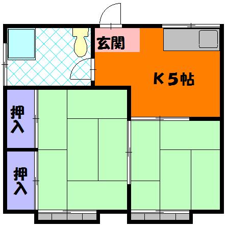 三剛荘 2-1号室の間取り