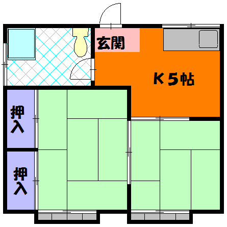 三剛荘 1-2号室の間取り