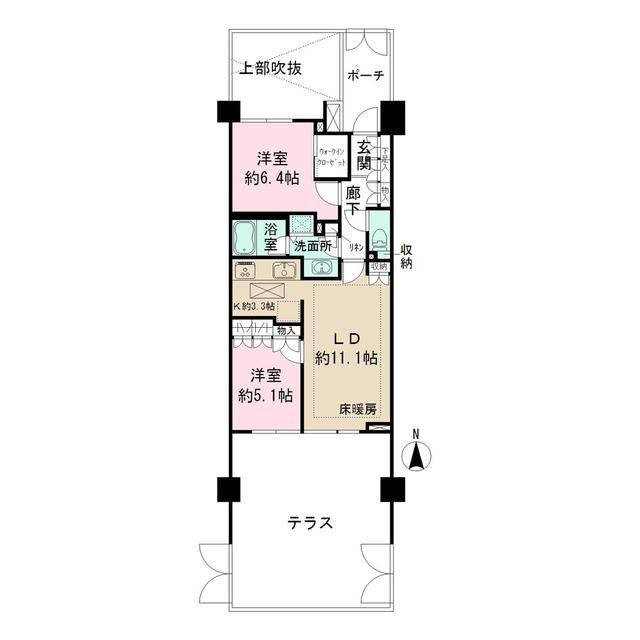 上野毛中町パークハウス 102号室の間取り
