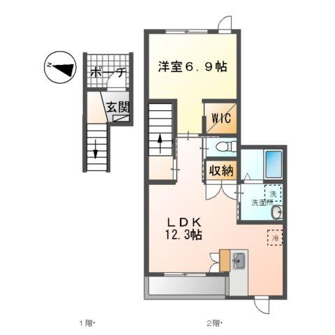 (仮)裾野市佐野アパート新築工事 203号室の間取り