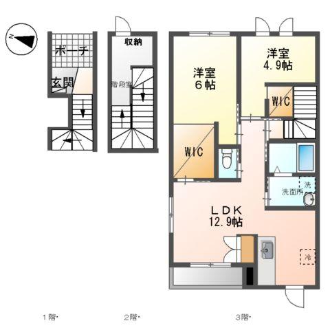 (仮)裾野市佐野アパート新築工事 303号室の間取り