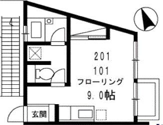 ツウィンガーデン駒沢 201号室の間取り