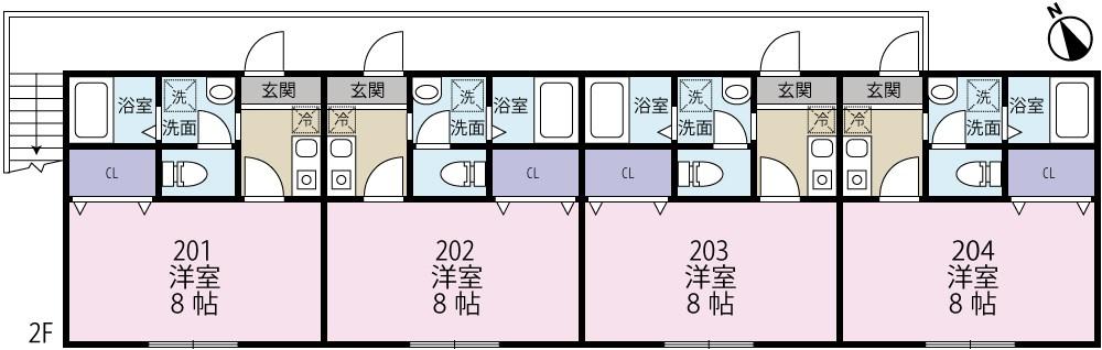 CK久喜南 (仮称)久喜南アパート 202号室の間取り