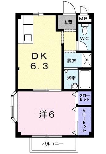 エルディム和田入 02040号室の間取り