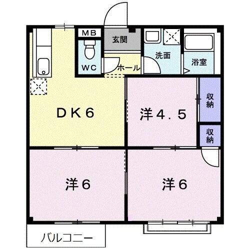 ニューシティー箕田Ⅱ 02020号室の間取り