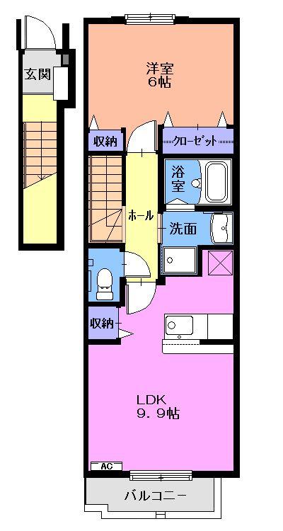 メゾンキャッスルⅡ 02010号室の間取り