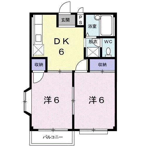 エルディム・城西B 02050号室の間取り