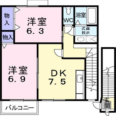 ファイン・セレ-B 02020号室の間取り