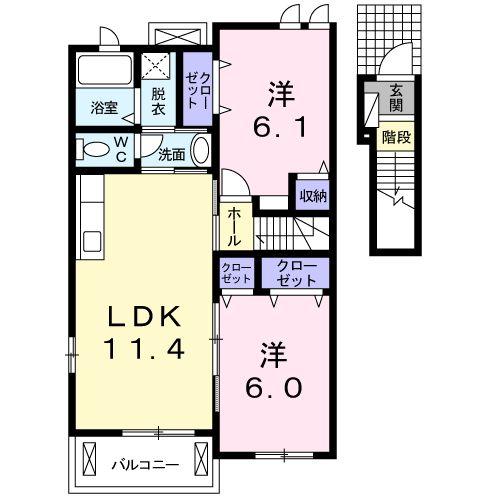 プラシードⅢ番館 02030号室の間取り