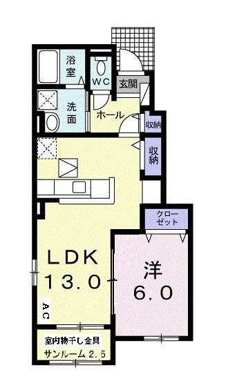 ロ-ズハウス OZ Ⅲ 01030号室の間取り