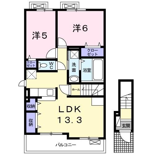 アンソレイエⅢ 02010号室の間取り
