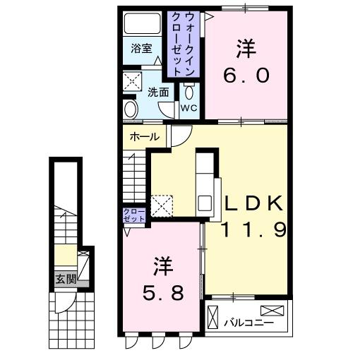 琴寄アパート 02030号室の間取り