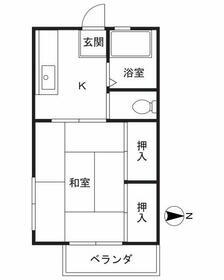 関山荘 201号室の間取り