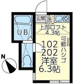 ユナイト横浜セシル・キャンベル 102号室の間取り