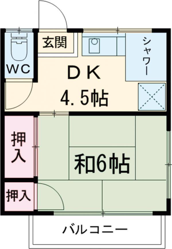 大岡アパート 201号室の間取り