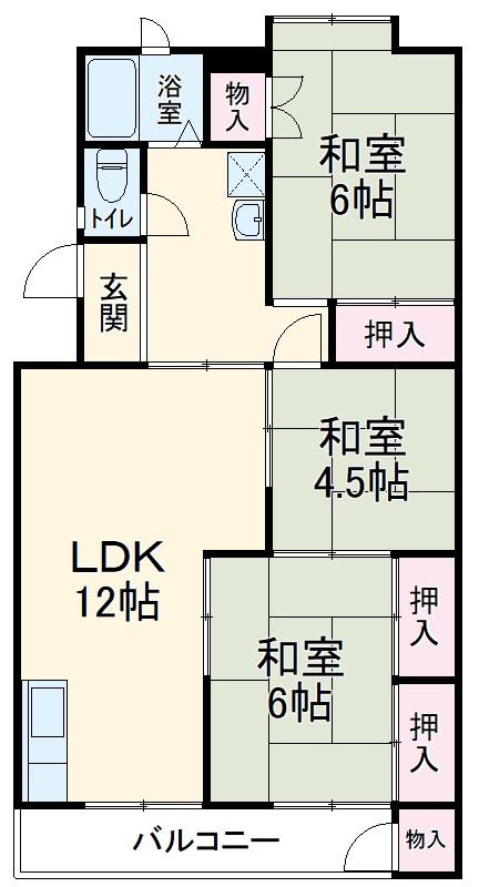 志木宗岡住宅 403号室の間取り