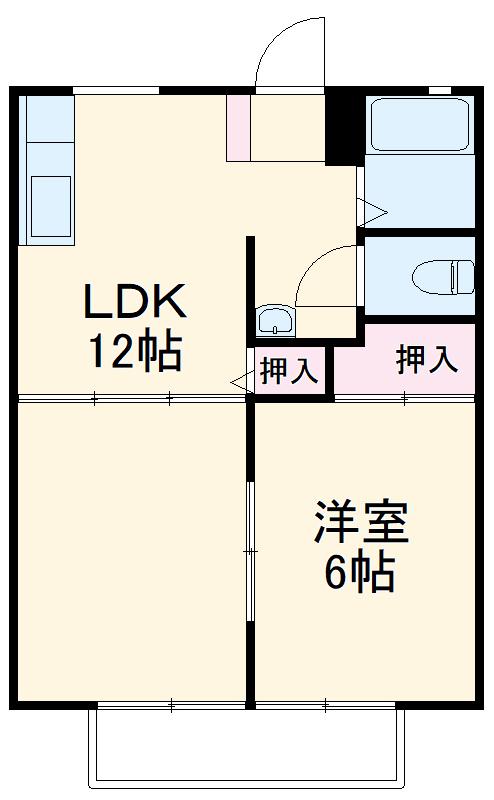 ハイツ仁井田B 102号室の間取り
