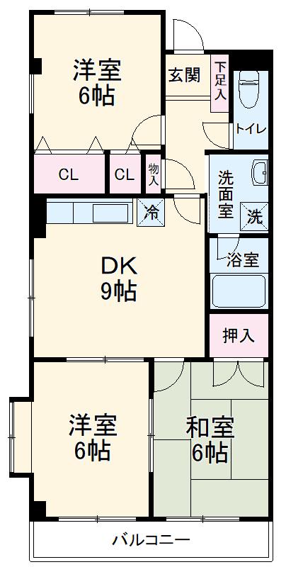西浦和アネックスマンション 305号室の間取り