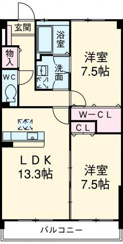 スルス門松Ⅱ 102号室の間取り