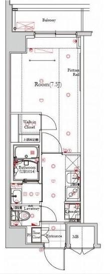 フェルクルールプレスト都立大学 405号室の間取り