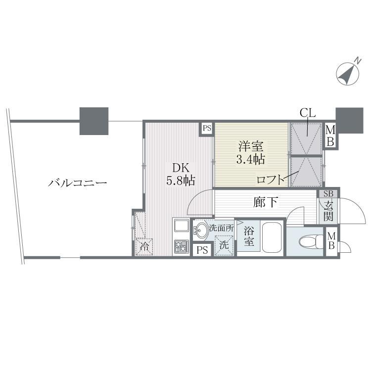 S-FORT博多東Ⅱ 203号室の間取り