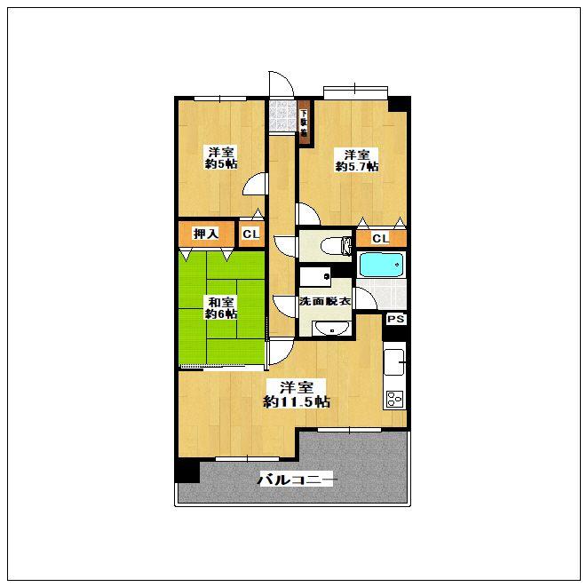 ロマネスク箱崎タワーホームズ E402号室の間取り