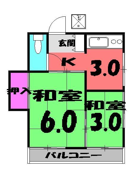 菊水荘 201号室の間取り