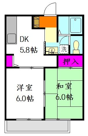 コーポ増田B棟 201号室の間取り