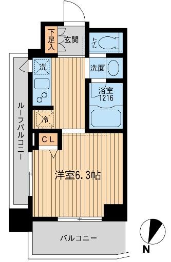 クリオ上野毛ラ・モード 704号室の間取り