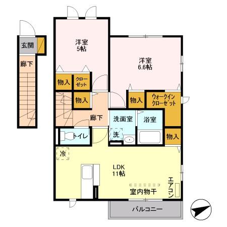 SAKURA HILSS E 201号室の間取り