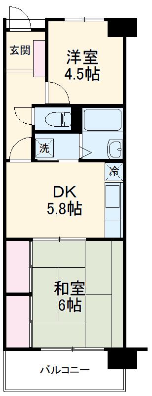 浦和北ローヤルコーポ 4F号室の間取り
