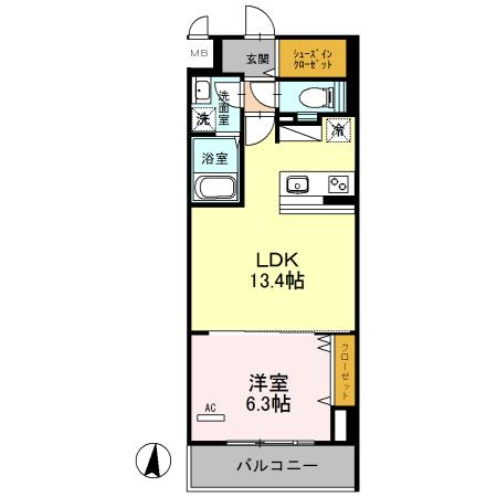 (仮)浦和常盤7丁目D-room 302号室の間取り