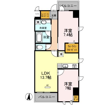 (仮)浦和常盤7丁目D-room 405号室の間取り