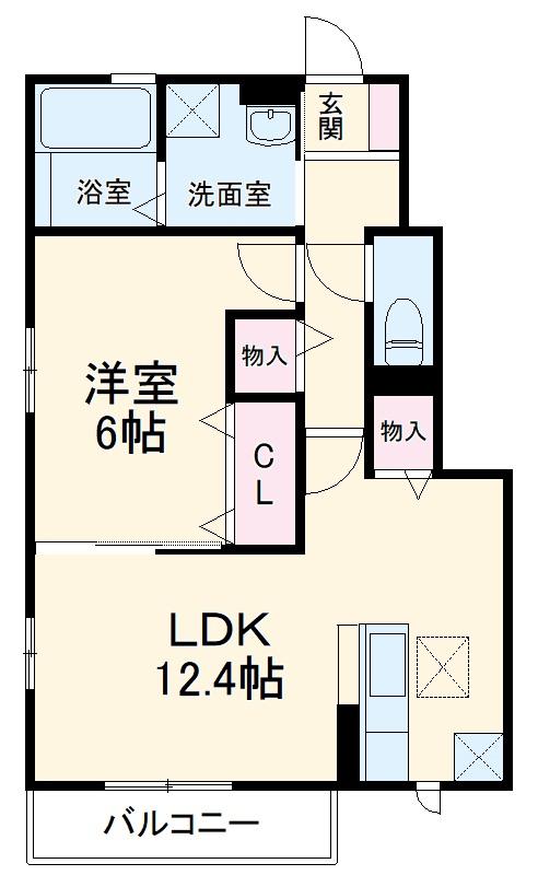 浦和木崎2丁目D‐room 102号室の間取り
