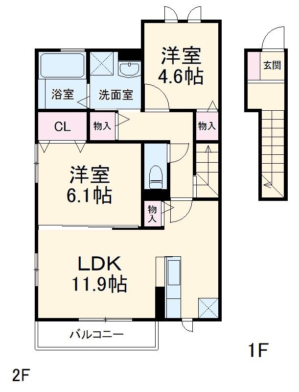 浦和木崎2丁目D‐room 202号室の間取り