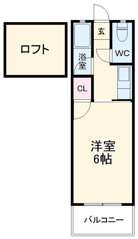 ウイング筥松 B106号室の間取り
