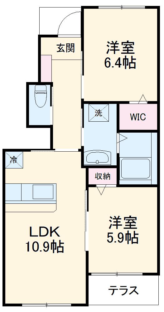 仮)篠栗町尾仲新築アパート 101号室の間取り