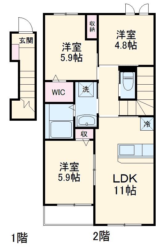 仮)篠栗町尾仲新築アパート 202号室の間取り