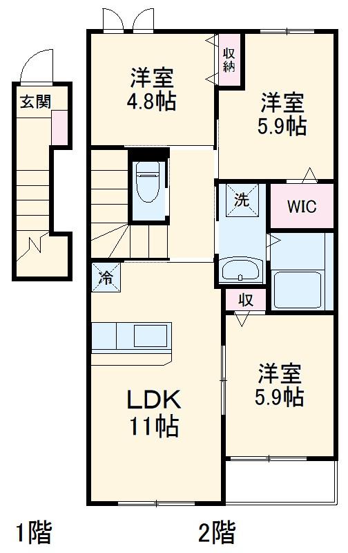 仮)篠栗町尾仲新築アパート 203号室の間取り