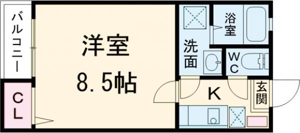 クレフラスト箱崎東Ⅱ 101号室の間取り